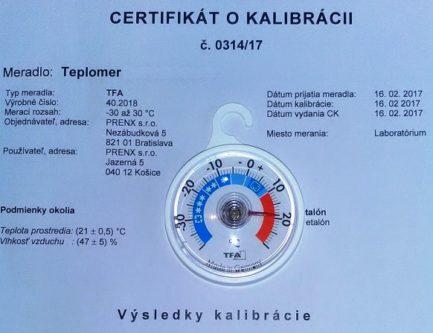 Kalibrovaný teplomer s certifikátom o kalibrácii podľa HACCP